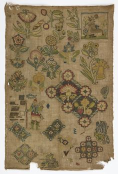 """Spot"" sampler with flowers, fragments of repeating pattern, a snail, a deer, a fish, and a falconer. Traces of original ink drawing can be seen on foundation. Many areas have practice stitches. Selvedge top and bottom.    This sampler is medium: silk and metal-wrapped silk embroidery on linen foundation technique: embroidered in tent, half cross, chain, running, and encroaching gobelin stitches in silk; crossed chain, plaited braid, back, ladder, and chain stitch over double ladder stitc…"