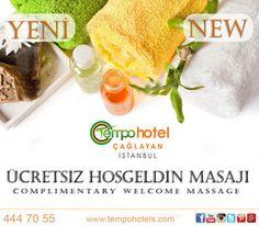 YEPYENİ HİZMETİMİZ: Ücretsiz Hoşgeldin Masajı.  Tempo Otellerinde konaklayan misafirler ayrıcalıklıdır. Artık Tempo Hotel Çağlayan'da 15-20 saatleri arasında giriş yapan misafirlerimiz ücretsiz olarak sertifikalı masörümüz tarafından verilen hizmetimizden yararlanabilecekler.