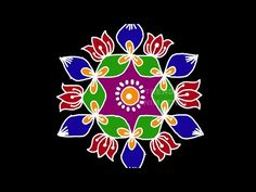 Very simple and easy lotus rangoli design with Rangoli Patterns, Rangoli Kolam Designs, Rangoli Designs Images, Rangoli Designs With Dots, Kolam Rangoli, Lotus Rangoli, Peacock Rangoli, Indian Rangoli, Youtube Free Music