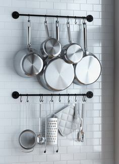 Wallniture Thick Kitchen Wall Mount Rail 24 Inch Hanging Utensil Organizer Rack for Pots Pans Lids Utensils Set of 2 Black Image 1 of 4 Interior Simple, Home Interior, Interior Design Kitchen, Kitchen Wall Design, Interior Plants, Kitchen Designs, Interior Ideas, Interior Decorating, Pan Storage