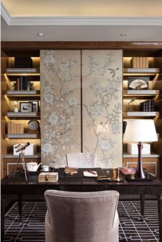 Home office with De Gournay panels!