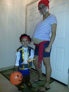 Mr. Smee & Jake and the Neverland Pirates Pregnant costume idea pirates theme costume Mommy & son costume idea ♡♥♡♥♡♥