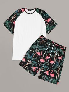 To find out about the Men Tropical Print Raglan Sleeve Top & Shorts Set at SHEIN, part of our latest Men Two-piece Outfits ready to shop online today! African Shirts For Men, African Dresses For Kids, Swag Outfits Men, Casual Outfits, Fashion Clothes, Fashion Outfits, Fashion Shorts, Clothes Swag, Men Clothes