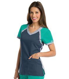 Grey's Anatomy Active 3 Pocket Color Block V-Neck Scrub Top