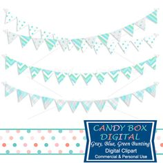 Gray, Blue and Green Bunting Clipart by Candy Box Digital. Great bunting clipart for blogs, websites, digital scrapbooks and journals, etc.