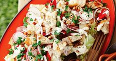 Crunchy iceberg lettuce and almonds add a textural element to this colourful autumn salad.