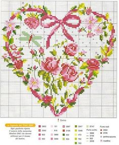 free cross stitch chart Heart of Rose Garden Cross Stitch Heart, Cross Stitch Flowers, Counted Cross Stitch Patterns, Cross Stitch Designs, Cross Stitch Embroidery, Embroidery Patterns, Knitting Charts, Le Point, Cross Stitching