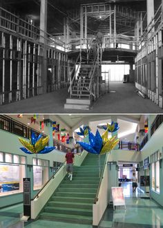 Then and Now at Marquette University:   The Alumni Memorial Union's first floor, stairs and second-floor rotunda — then under construction in 1989 and now during New Student Orientation. 1989 photo source: Marquette University Archives.
