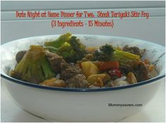Date Night at Home Dinner for Two:  Teriyaki Steak Stir Fry (15 Minutes - 3 Ingredients)