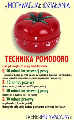 POMODORO - jedna z najskuteczniejszych technik zwiększania produktywności. Zobacz więcej na: http://trenermotywacyjny.pl/pomodoro/  #ZarządzanieCzasem #OrganizacjaCzasu #Produktywność