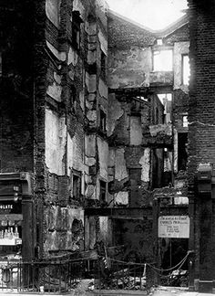 What was left of the Warren Street premises of Charles Pugh (Glass) Ltd after it was bombed in 1940. During the war the company manufactured glass for aircraft and tanks. Pugh's began in Victorian times when a law was passed forbidding the use of glass, which would allow passers by to see directly into the bars of public houses. It was common to obscure the glass with sandblasting or acid treatment.