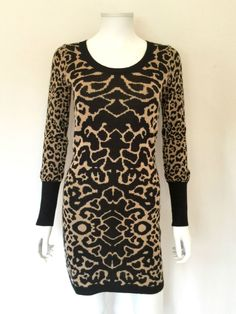 Alice by Temperley Animal Print Knit Dress / Black & Camel / RRP: £295.00