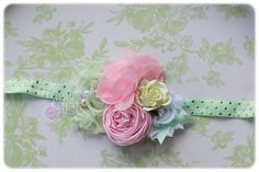 Mint and pink satin and chiffon headband. Back to school. Birthday Girl. Pageants. photography. Flower girl by GirlyMurleyDesigns on Etsy