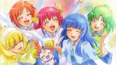 Glitter force: Emily, Kelsy, Lily, April, Clohe, and Candy the Pixie