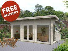 Heidi - 6.5m x 3.5m - 70mm Log Cabin Backyard Office, Backyard Studio, Garden Office, Modern Backyard, Buy Shed, Garden Log Cabins, Summer House Garden, Summer Houses Uk, Log Cabin Kits