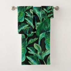 Broad Leafed Tropical Plants Bath Towel Set - home gifts ideas decor special unique custom individual customized individualized