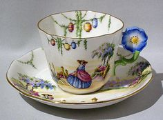 Rare AYNSLEY VENETIAN SCENE FLOWER HANDLE CUP & SAUCER c 1930s