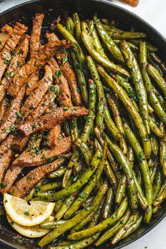 Garlic Butter Steak and Lemon Green Beans Skillet - So addicting! The flavor combination of this quick and easy one pan dinner is spot on!