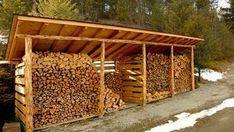 Nice outdoor wood storage rack.