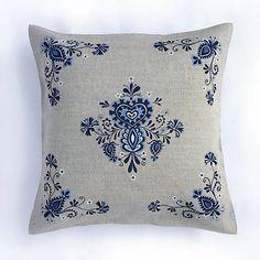 Veldi / Modrý kvetinový folk 40x40cm ručná maľba