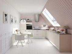 Une #cuisine sous pente ! #rose #blanc http://www.m-habitat.fr/par-pieces/cave-et-combles/10-idees-pour-amenager-vos-combles-3645_A