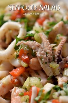 One of the most refreshing salads you will ever have is this tangy, lemony Seafood Salad! One of the most refreshing salads you will ever have is this tangy, lemony Seafood Salad! Octopus Recipes, Fish Recipes, Seafood Recipes, Cooking Recipes, Seafood Salad Recipe Easy, Mixed Seafood Recipe, Recipies, Grilled Seafood, Seafood Pasta