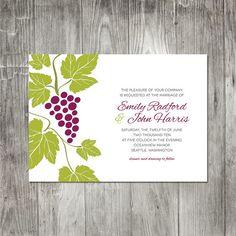 Wedding Invitation Set, Grapes Wedding Invite, Winery Wedding Invitation, Vines Wedding, Garden Wedding, Response card wedding, Invitations