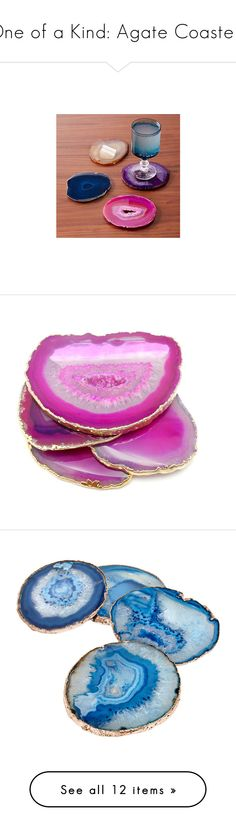 """One of a Kind: Agate Coasters"" by polyvore-editorial ❤ liked on Polyvore featuring agatecoasters, home, kitchen & dining, bar tools, pink, pink coasters, agate coasters, agate slice coasters, pink agate coasters and west elm"