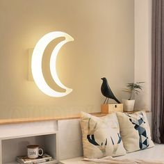 Quality moon wall light with free worldwide shipping on AliExpress Black Wall Lights, Mirror With Led Lights, Modern Wall Lights, Wall Lamp Shades, Led Wall Lamp, Girls Princess Room, Wall Stickers Window, Living Room Light Fixtures, My Home Design