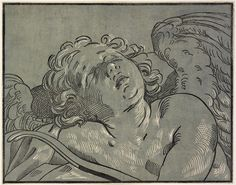 RISD Museum: Bartolomeo Coriolano, Italian, fl. 1627-1653; After Guido Reni, designer, Italian, 1575-1642. Sleeping Cupid, ca. 1640. Chiaroscuro woodcut from two blocks in gray blue and black. Plate: 29.8 x 38.3 cm (11 3/4 x 15 1/16 inches). Gift of Murray S. Danforth, Jr. 50.365