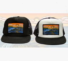 0940e220184c6 Haleiwa Sunset Surf Art Trucker Hat by Heather Brown www.HeatherBrownArt.com  Heather Brown