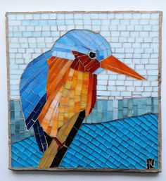 Bird Kingfisher on post neaxt ot lake clear day by LachanceGlassMosaic on Etsy
