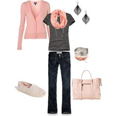 """Casual Pale Pink"" by heather-rolin on Polyvore"