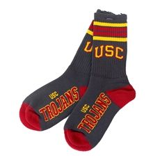 USC Charcoal 4 Stripe Deuce Socks