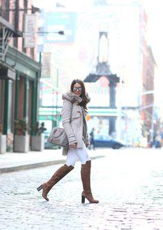 Pants: TopShop / Boots: Pour La Victoire / Purse: Prada / Coat: Zara / Sunglasses: Illesteva
