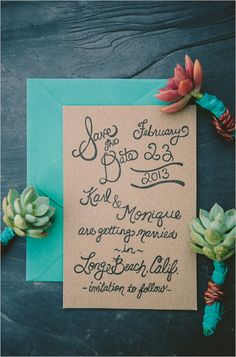 Trendy craft paper invitations. Stationery: Metal Doily Press http://www.weddingchicks.com/2014/06/13/wedding-chicks-happy-hour-15/