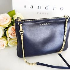 S a n d r o. ADDICT.  #new #favourite #uwielbiam #navy #addict #sandroparis #sandroaddict #bagaddict #baglover #addicted #style #accessories #details #essentials #whatiwore #love #beautiful #littlethings #shopping #fashionista #fashionpost #fashiongram #outfit #ootd #chainbag #crossbody #polishgirl #instafashion #minimal #niemogesienapatrzec