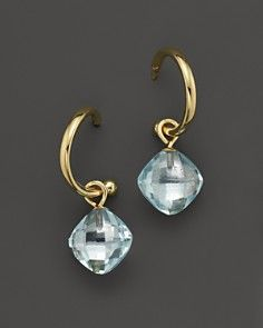 Blue Topaz Small Hoop Earrings in 14K Yellow Gold
