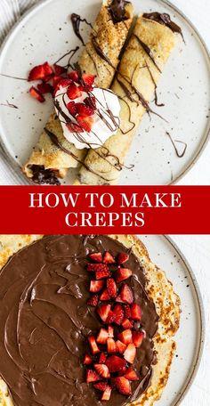 Best Crepe Recipe, Crepe Recipes, Brunch Recipes, Dessert Recipes, Breakfast Crepes, Best Breakfast, Mexican Breakfast, Breakfast Sandwiches, Breakfast Bowls