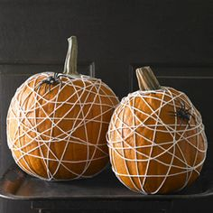 Easy-to-make spider web pumpkins.