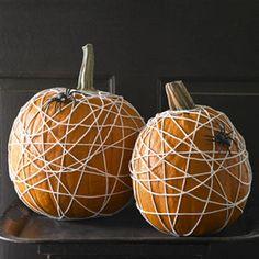 Easy-to-make spider web pumpkins.