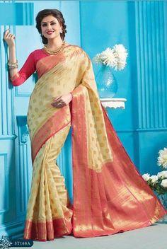 wedding Wear silk Saree Indian ethnic zari blouse Bollywood bridal ivory Sari  #Handmade #saree