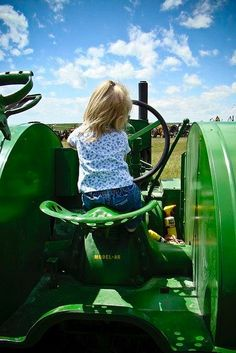 Cute Little Girl On Tractor !!. ❤