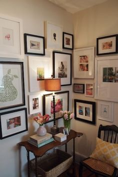 Gallery Wall · Creative Home Decor Inspiration · Wall Art · Eclectic Office · Corner Corner Wall, Cozy Corner, Corner Space, Small Corner, Art Corner, Stairway Gallery Wall, Gallery Walls, Frame Gallery, Art Gallery