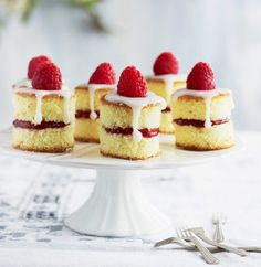 Mini raspberry sponge cake