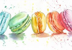 Macaroons watercolor Print - Watercolor Painting - Wall Decor - Poster Giclee wall print - Home Wall decor - Baby nursery print - Kids room by AnellHappyWatercolor on Etsy https://www.etsy.com/listing/244832416/macaroons-watercolor-print-watercolor
