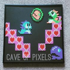 Bubble Bobble scene perler beads by caveofpixels