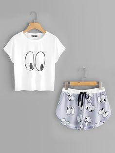 Shop Cartoon Eye Print Tee And Shorts Pajama Set online. SheIn offers Cartoon Eye Print Tee And Shorts Pajama Set & more to fit your fashionable needs. Cute Lazy Outfits, Girl Outfits, Casual Outfits, Fashion Outfits, Cute Pajama Sets, Cute Pajamas, Summer Pajamas, Pajama Outfits, Pajama Shorts
