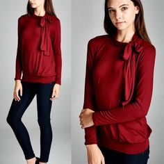 Bow Tie Sweater True to size Bare Anthology Tops Tees - Long Sleeve