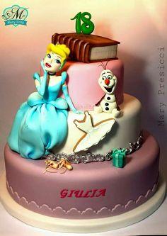 Cinderella and Olaf Cake